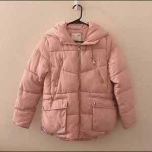 Zara Girls Pink Puffer Coat